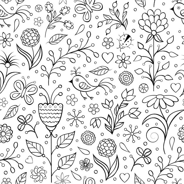Floral seamless pattern with abstract flowers Premium Vector