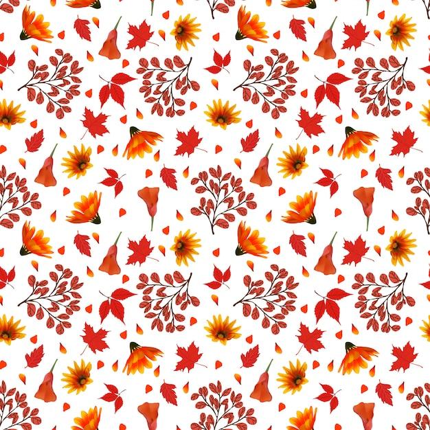 秋の花のシームレス花柄 Premiumベクター
