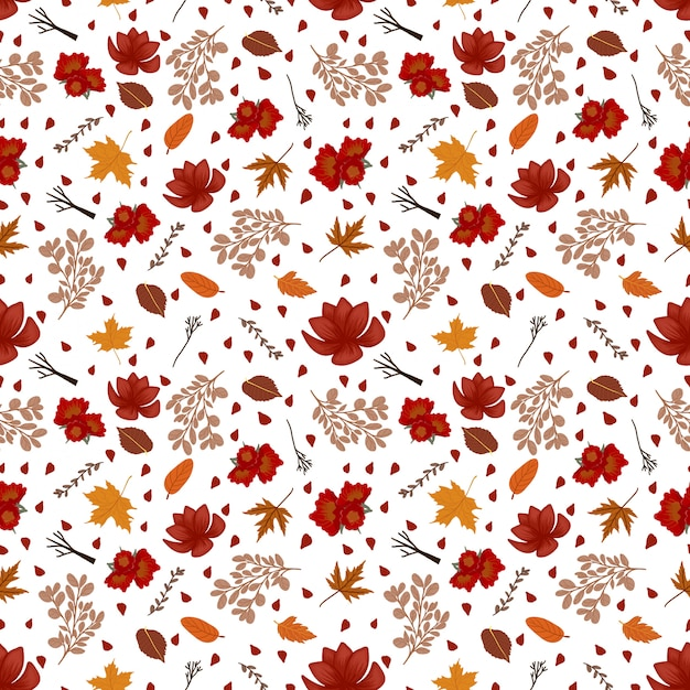 Floral seamless pattern with autumn flowers Premium Vector