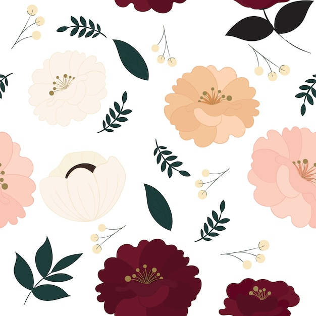 Floral seamless pattern with beautiful flowers. Premium Vector