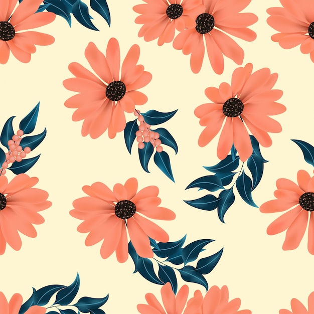 Floral seamless pattern with berry Premium Vector