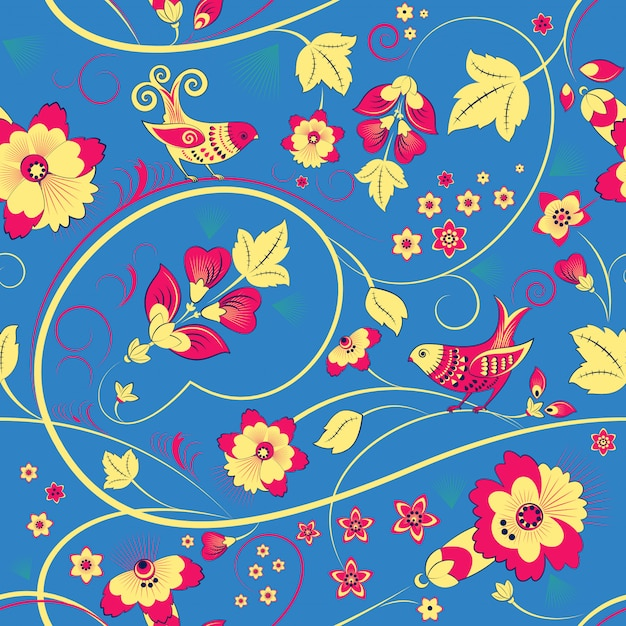 Floral seamless pattern with birds on blue Premium Vector