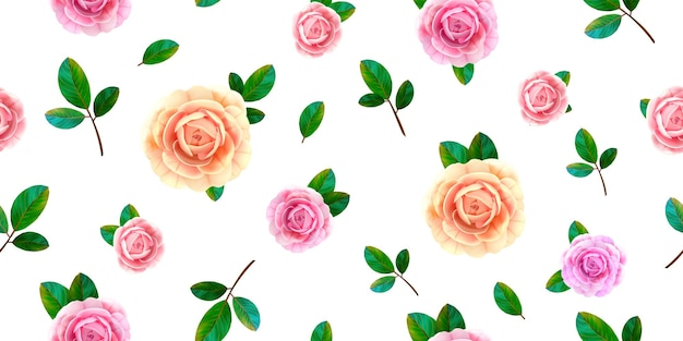 Floral seamless pattern with blooming pink and yellow rose flowers, green leaves on white background. Premium Vector