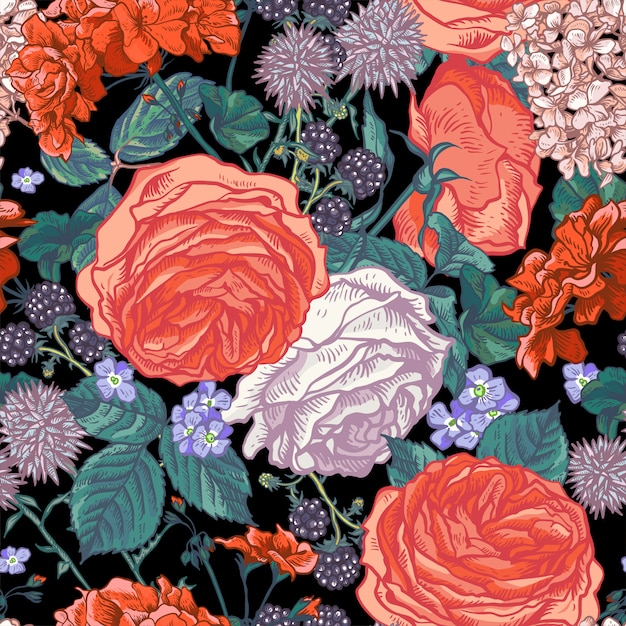Floral seamless pattern with blooming roses Premium Vector