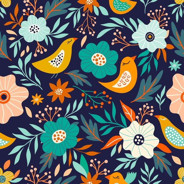 Floral seamless pattern with flowers and birds Premium Vector