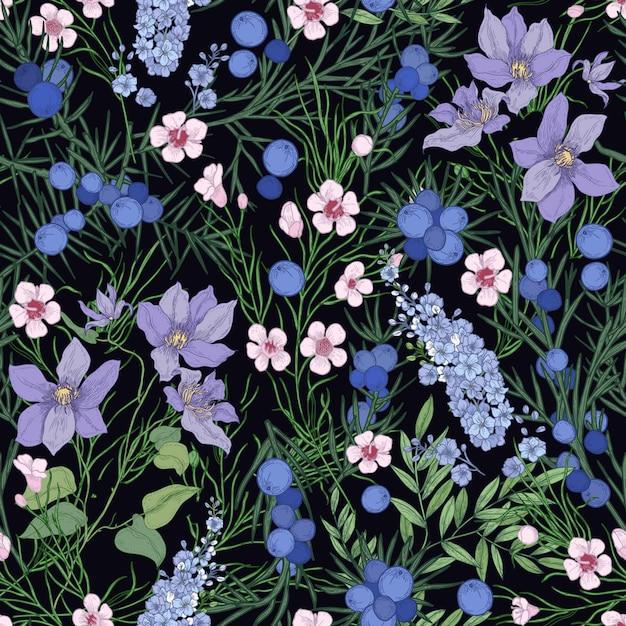 화려한 개화 꽃과 검은 배경에 야생 꽃 허브 꽃 완벽 한 패턴입니다. 프리미엄 벡터