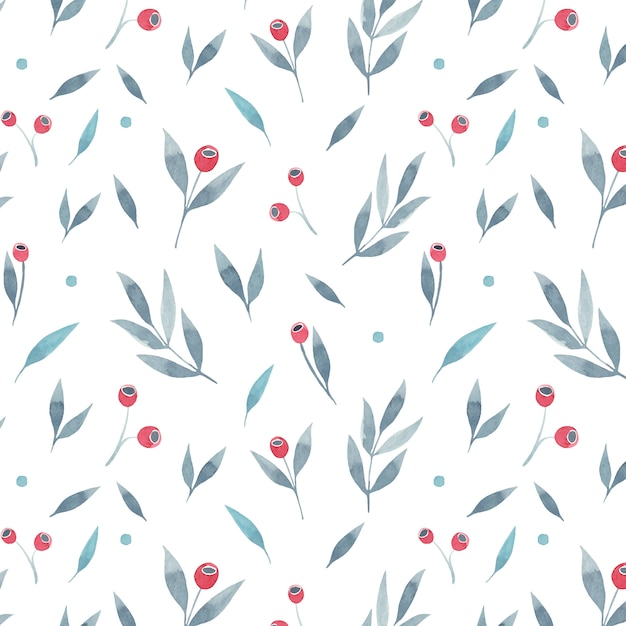 Floral seamless pattern with grey leaves and red berries on white background. vector illustration Premium Vector
