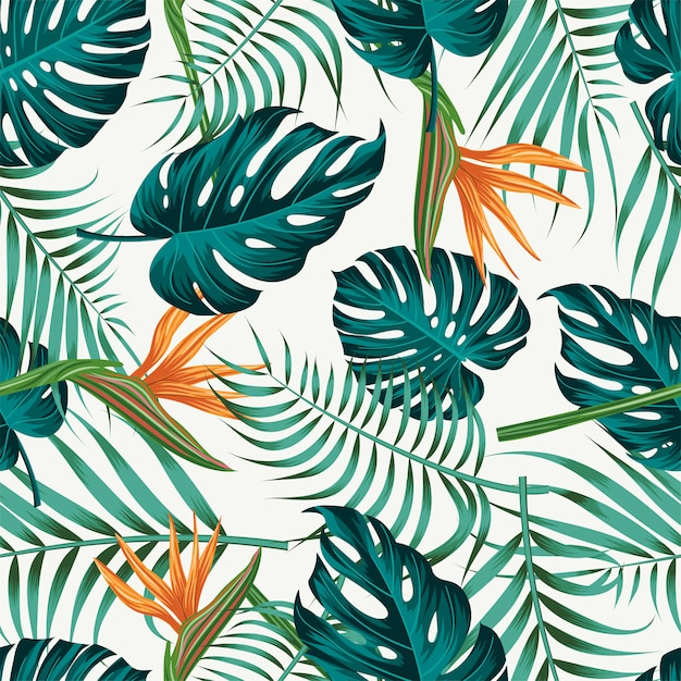 Floral seamless pattern with leaves Premium Vector