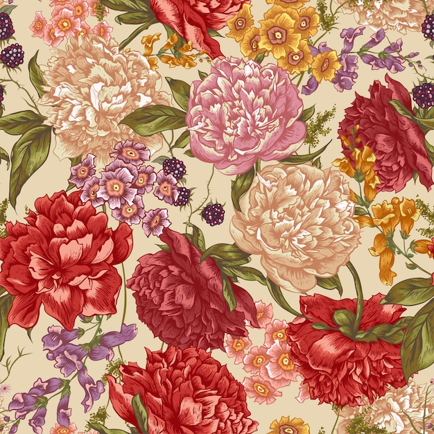 Floral seamless pattern with peonies in vintage style Premium Vector