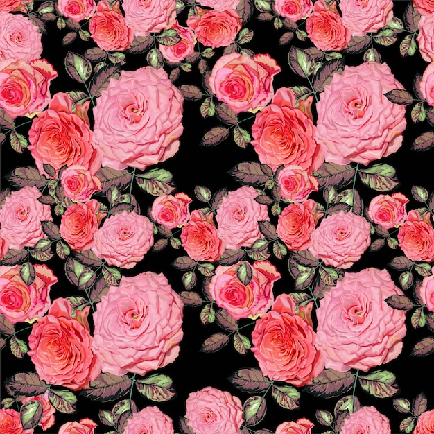 Floral seamless pattern with pink  roses vector illustration Premium Vector