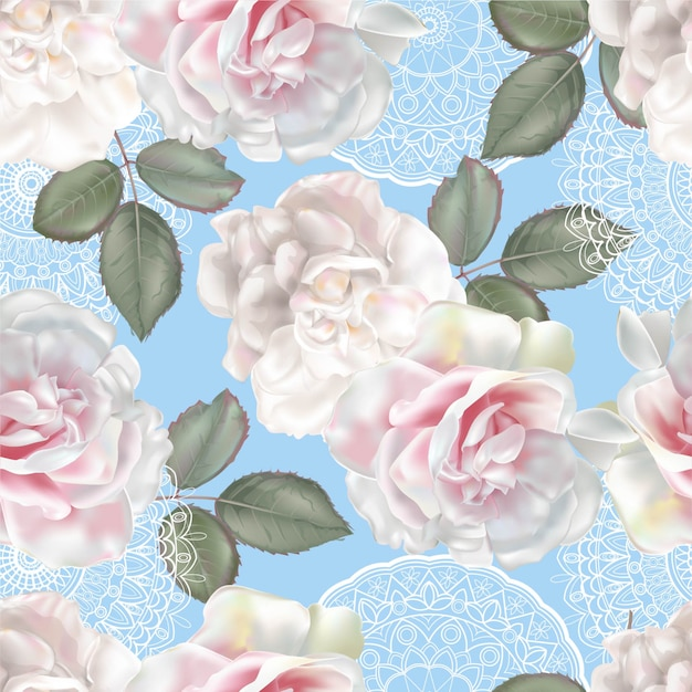 Floral seamless pattern with rose and lace Premium Vector