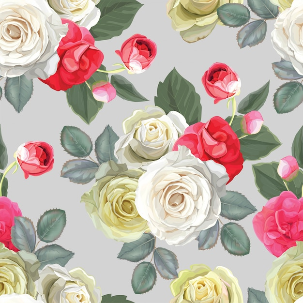 Floral seamless pattern with rose Premium Vector