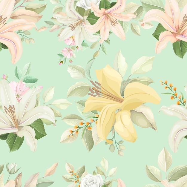 Motivo floreale senza soluzione di continuità con colori tenui Vettore gratuito