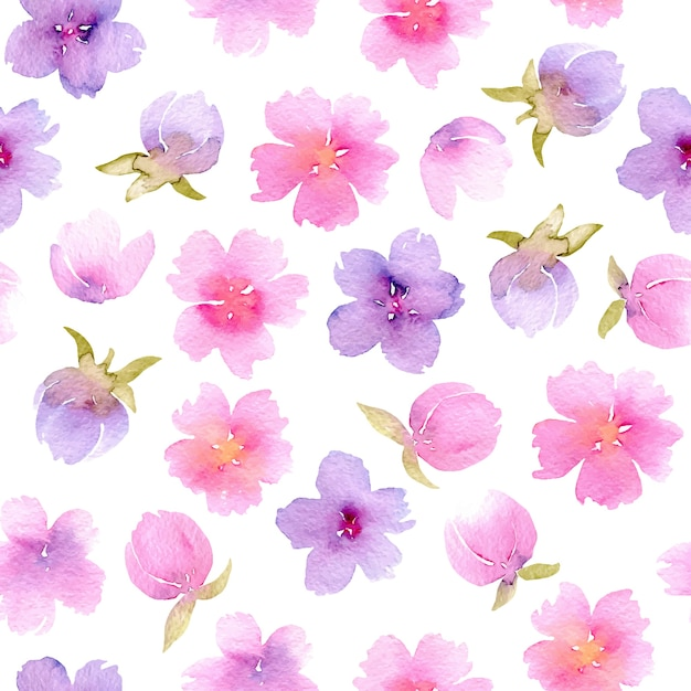 Floral seamless pattern with watercolor pink and purple flowers floral seamless pattern with watercolor pink and purple flowers hand painted isolated on premium vector mightylinksfo