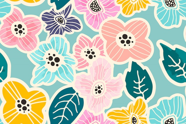 Floral seamless pattern Premium Vector