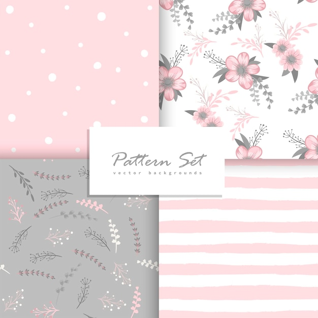 Floral seamless patterns set Free Vector