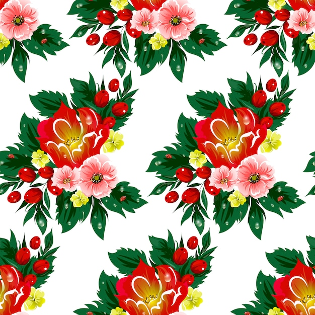 Floral seamless vector pattern with berries Premium Vector