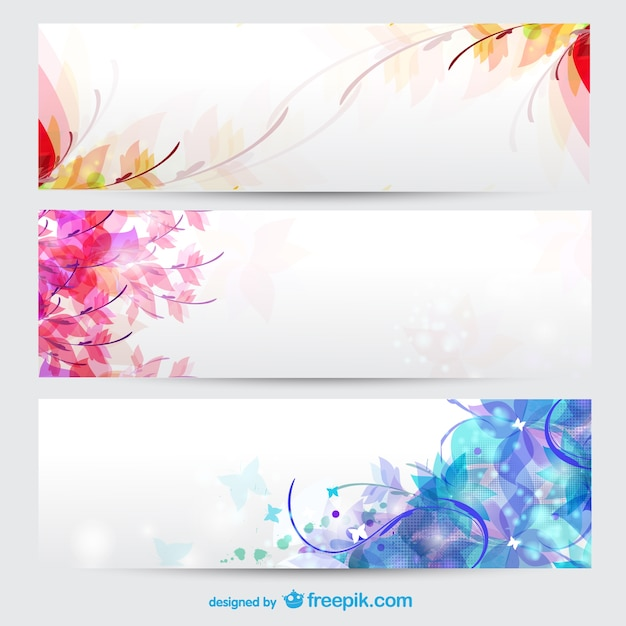 floral seasons background banners vector free download