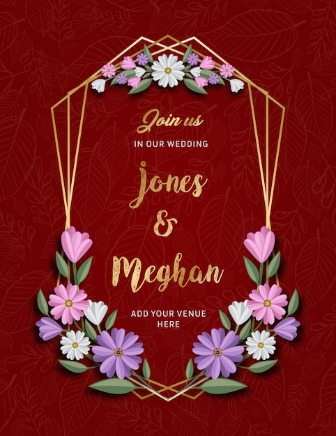 Floral seasons greetings card Premium Vector