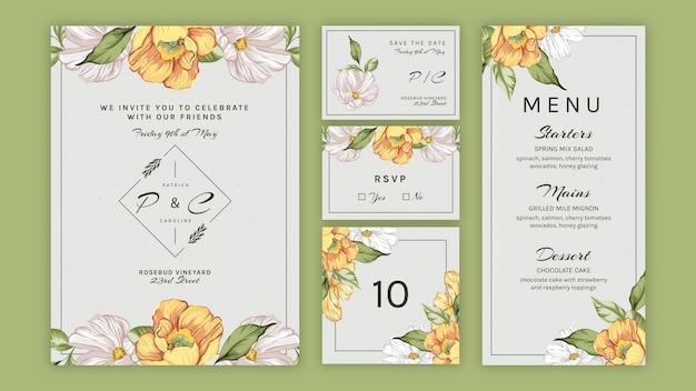 結婚式のための花のセットコレクション 無料ベクター