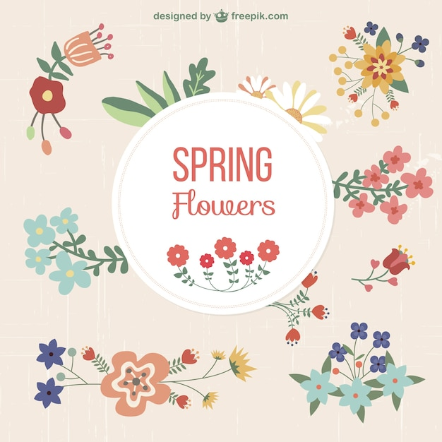 Floral set of graphic elements Free Vector