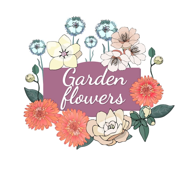 Floral set. summer and spring isolated garden flowers with marigold, camellia, carnation. Premium Vector