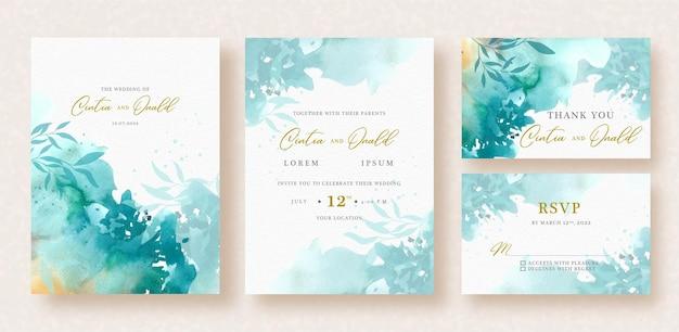 花の形は結婚式の招待状に水彩をはねかける Premiumベクター