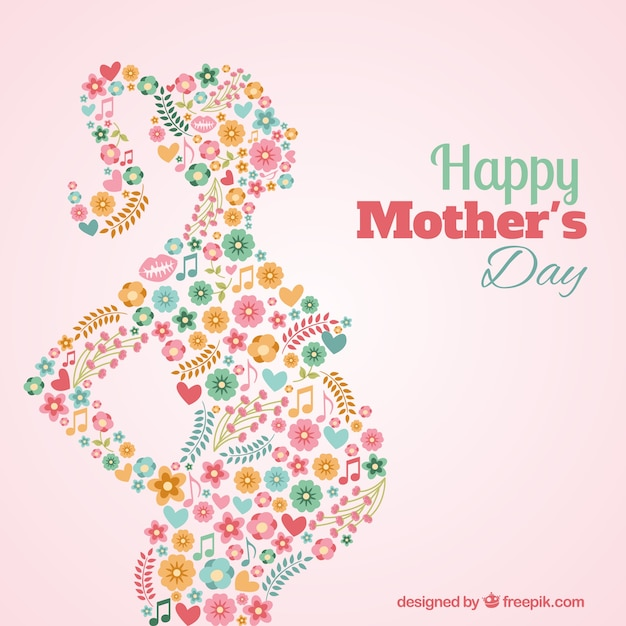 Floral silhouette of a pregnant woman card Free Vector