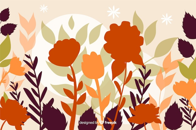 Floral silhouettes background flat design Free Vector