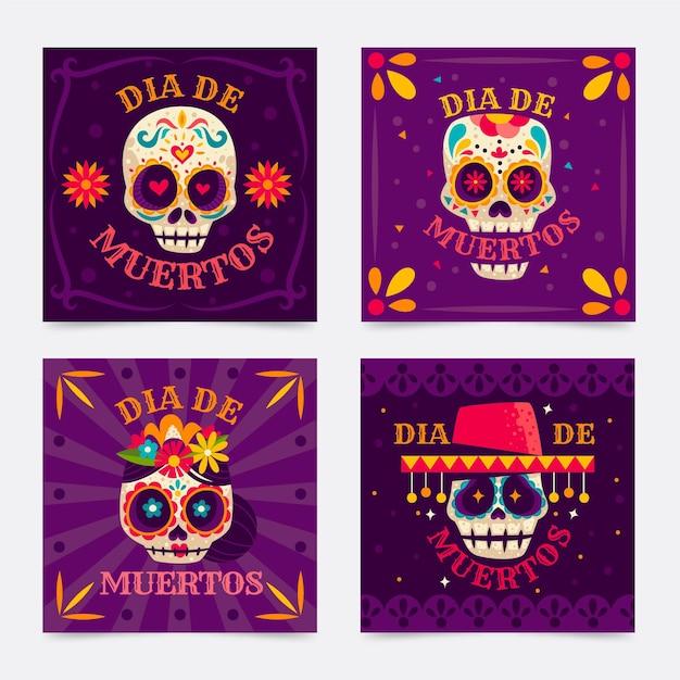 Floral skull day of the dead instagram post Premium Vector