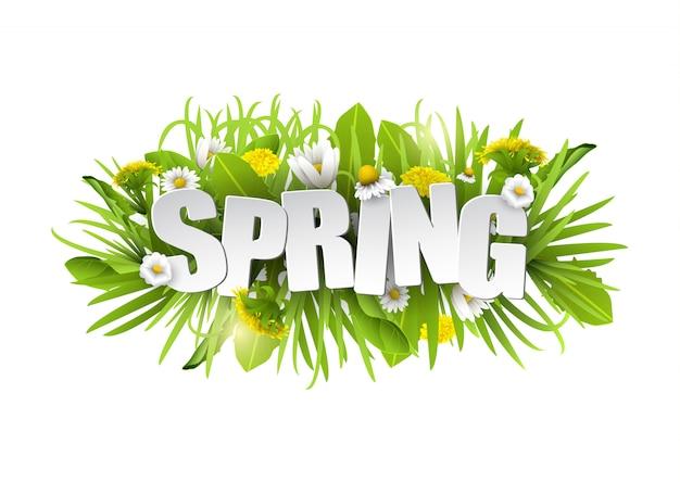 Цветочный весенний фон с цветами. Premium векторы