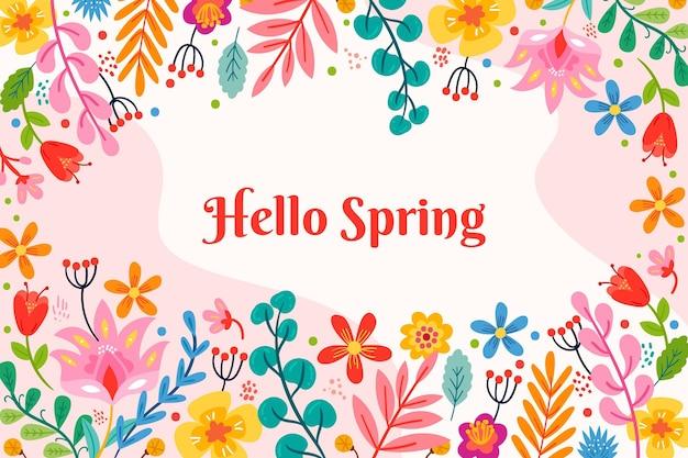 挨拶と花の春の背景 無料ベクター