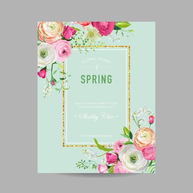 Floral spring design template with golden frame for wedding invitation, greeting card, sale banner,