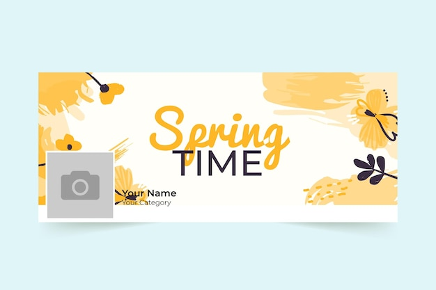 Floral spring facebook cover Free Vector