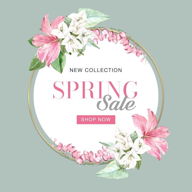 Floral spring frame of sales Free Vector