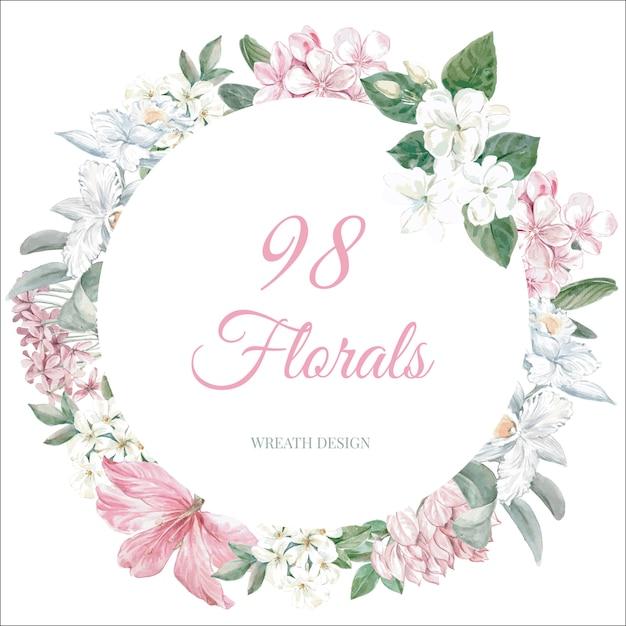 Floral spring frame Free Vector