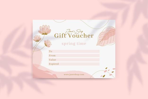 Цветочный весенний подарочный сертификат Бесплатные векторы