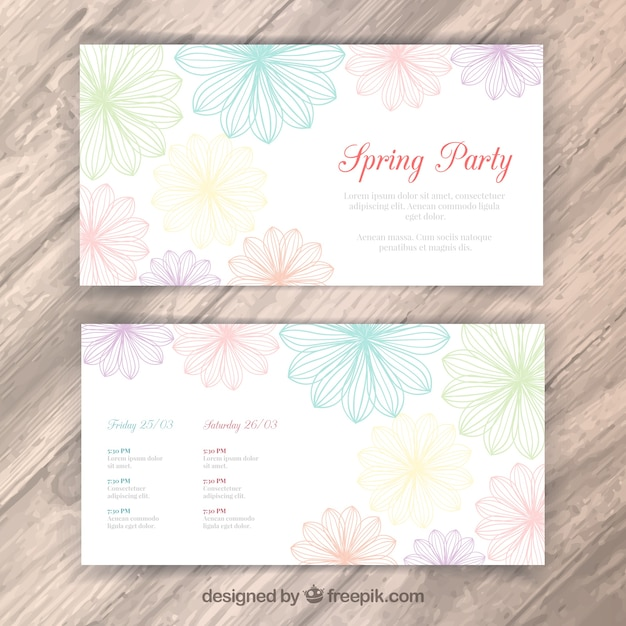 Floral spring party flyer Vector – Spring Party Flyer