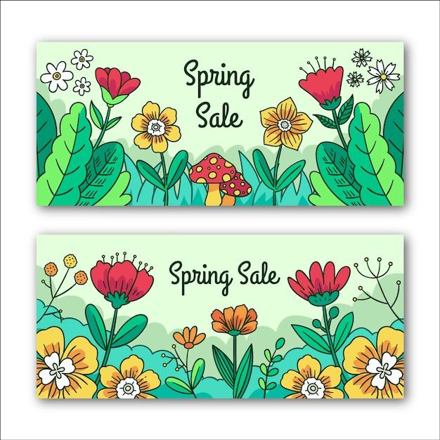 Цветочные весенние распродажи баннеров Бесплатные векторы