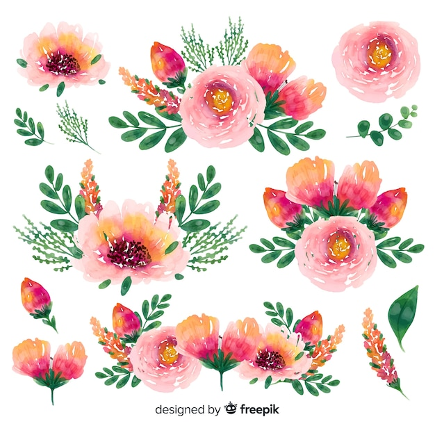 Floral spring time watercolor bouquet background Free Vector