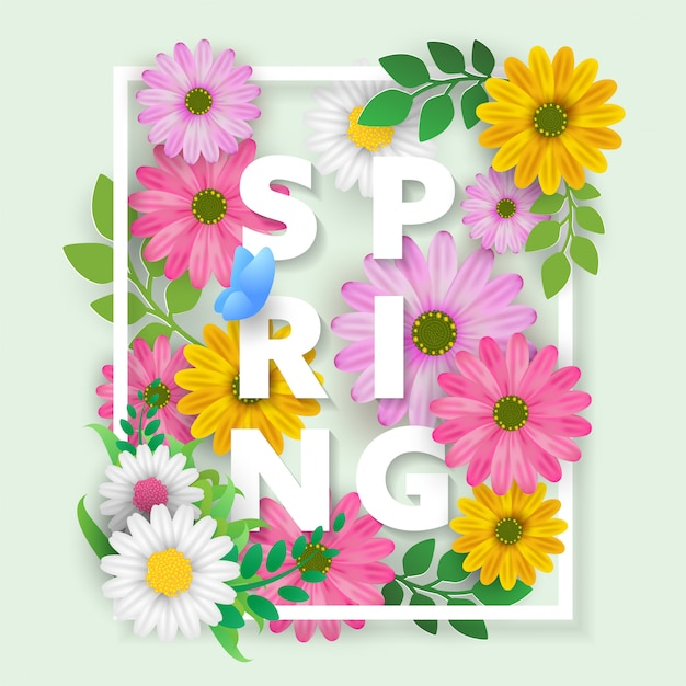 Floral spring with blossom flowers poster Premium Vector