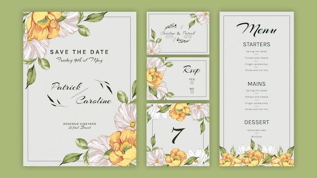 결혼식을위한 꽃 편지지 모음 프리미엄 벡터