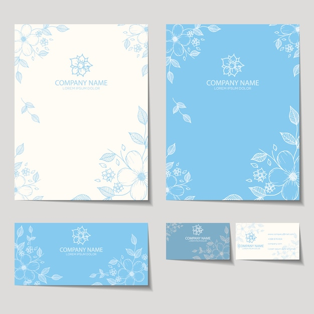 Floral stationery design Free Vector