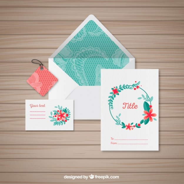 floral stationery vector premium download