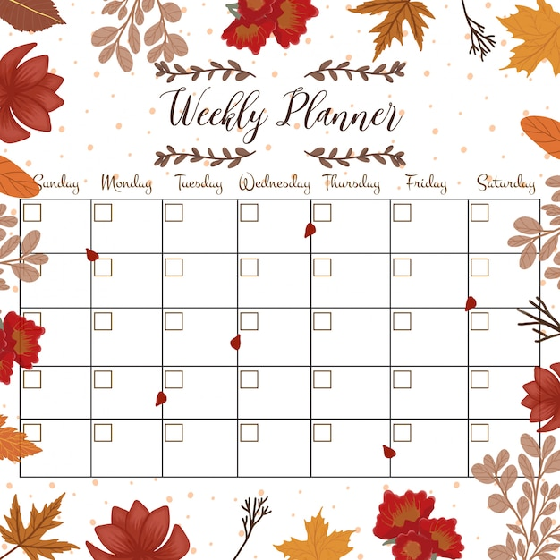 Floral student planner with autumn flowers Premium Vector