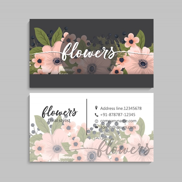Floral style business card template vector Premium Vector