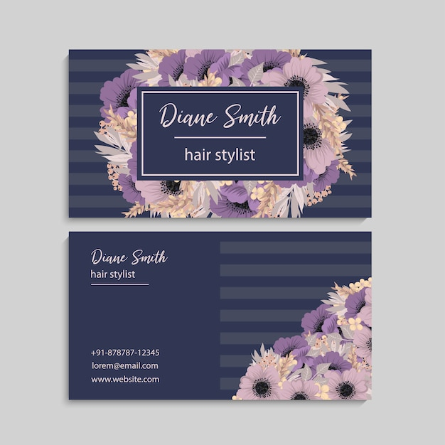 Floral style business card template vector Free Vector