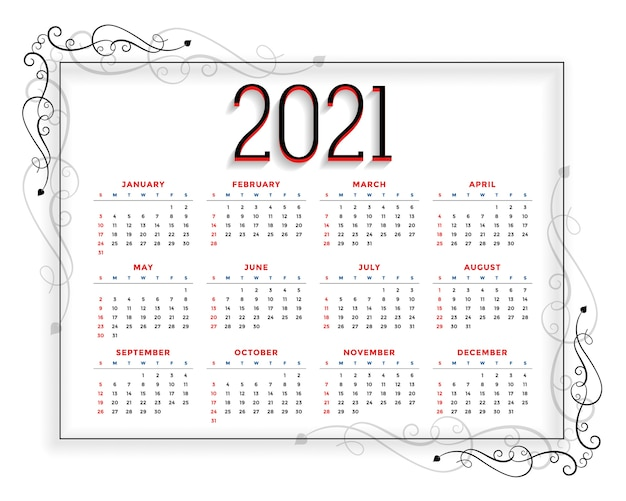 Floral style new year  calendar  template Free Vector