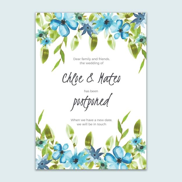 花のスタイルの結婚式のカードを延期 Premiumベクター