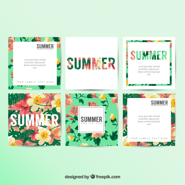 Floral summer cards Free Vector